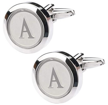 Classic Stainless Steel Initial Cufflinks