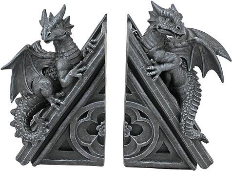 Design Toscano CL55773 Castle Dragon Gothic Decorative Bookend Statues