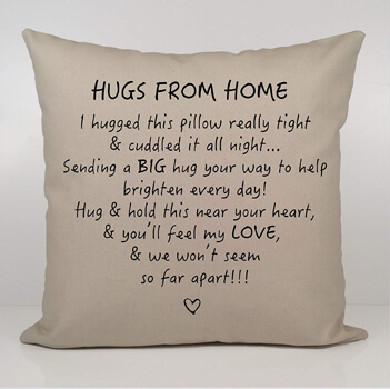 Hugs From Home Throw Pillow Cover
