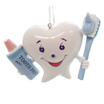 Resin Happy Tooth with Brush Dentist Ornament