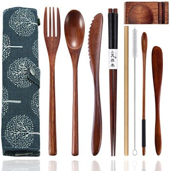 Wooden Cutlery Set Portable
