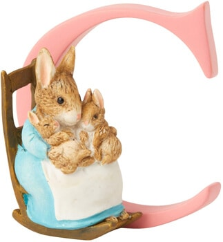 Enesco Beatrix Potter Letter C Mrs. Rabbit and Bunnies Figurine