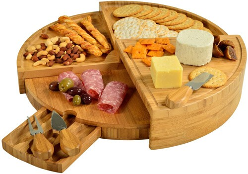 Ascot Patented Bamboo Cheese Charcuterie Board with Knife Set