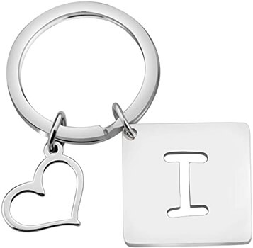 Bobauna Stainless Steel Cut Out Alphabet Initial Letter Keychain Key Ring