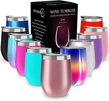 CHILLOUT LIFE Stainless Steel Stemless Wine Tumbler Pack