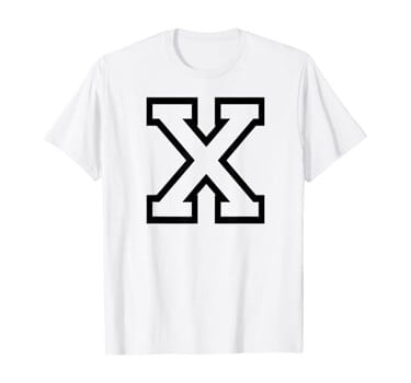 Letter X Athletic Sports Alphabet Name Monogram Outline T-Shirt