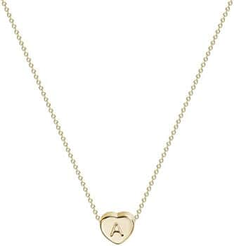 Tiny Gold Initial Personalized Letter Heart Necklace