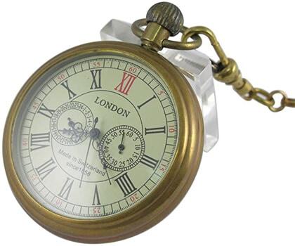 VIGOROSO Mens Vintage Full Copper Hand-wind Mechanical Pocket Watch